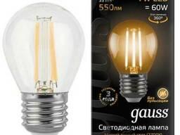 Лампа gauss LED Filament Globe 7W E27 2700K