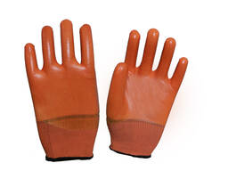 Перчатки с ПВХ с трикотажным манжетом
