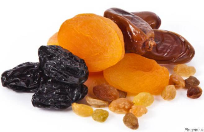 Сухофрукты, свежие фрукты, овощи и трикотаж
