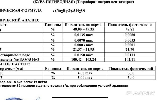Тетраборат натрия пентагидрат