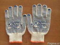 Трикотажные хб перчатки с ПВХ и без ПВХ