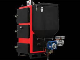Твердотопливный трехходовой водогрейный котел с автоматической загрузкой от 29 до 174 кВт.
